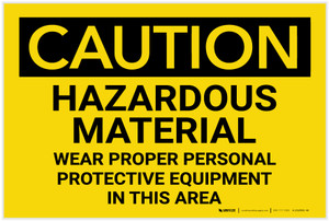 Caution: PPE Hazardous Material Wear PPE in This Area - Label