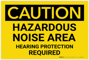 Caution: PPE Hazardous Noise Area Hearing Protection Required - Label