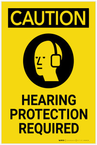 Caution: PPE Hearing Protection Required Vertical With Graphic - Label