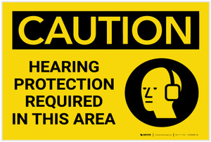 Caution: PPE Hearing Protection Required in This Area with Graphic - Label