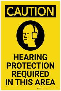 Caution: PPE Hearing Protection Required in This Vertical with Graphic - Label