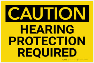 Caution: PPE Hearing Protection Required - Label