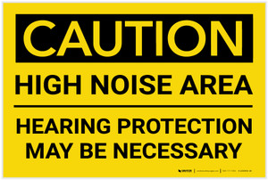 Caution: PPE High Noise Area/Hearing Protection Necessary - Label