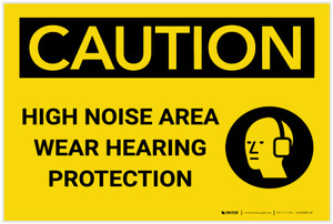 Caution: PPE High Noise Area Wear Hearing Protection with Graphic - Label