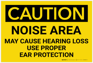 Caution: PPE Noise Area May Cause Hearing Loss Use Hearing Protection - Label