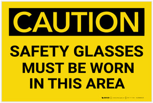 Caution: PPE Safety Glasses Must Be Worn in This Area - Label