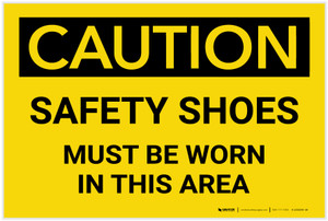 Caution: Safety Shoes Must be Worn in This Area - Label