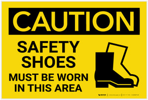 Caution: PPE Safety Shoes Must Be Worn in This Area - Label