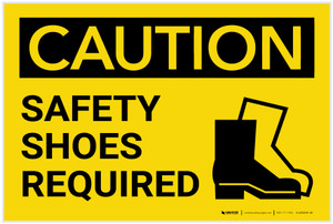 Caution: PPE Safety Shoes Required With Graphic - Label