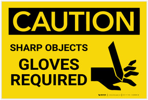 Caution: PPE Sharp Objects Gloves Required With Graphic - Label