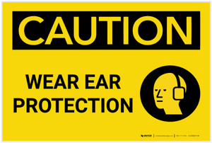 Caution: PPE Wear Ear Protection With Graphic - Label