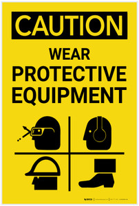 Caution: PPE Wear Protective Equipment Vertical With Graphic - Label