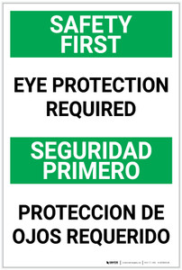 Safety First: Eye Protection Required Bilingual Spanish - Label