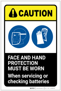 Caution: Face and Hand Protection Must be Worn with Graphic - Label