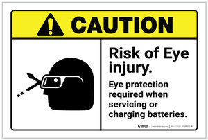 Caution: Eye Protection Required with Graphic ANSI - Label