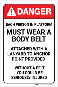 Danger: Each Person on Platform Must Wear a Body Belt - Label