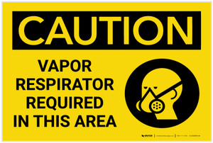 Caution: Vapor Respirator Required in This Area with Graphic - Label