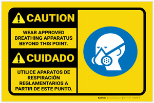 Caution: Wear Approved Breathing Apparatus Bilingual Spanish with Graphic - Label