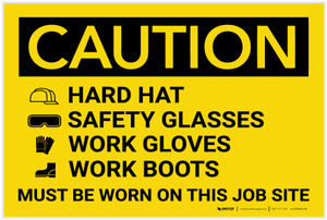 Caution: Wear Hard Hat Safety Glasses Gloves Boots - Label