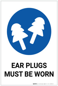 Ear Plugs Must Be Worn with Icon Portrait - Label