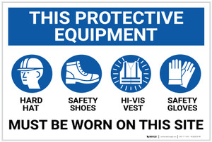 This Protective Equipment Must be Worn on This Site with Icons - Label