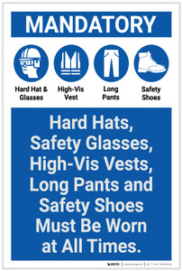 Mandatory: Hard Hats/Safety Glasses/Vests/Long Pants/Safety Shoes Must be Worn - Label