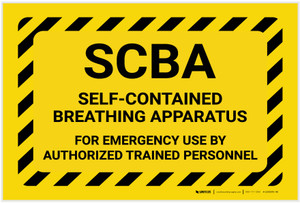 SCBA For Emergency Use with Hazard Border Landscape - Label