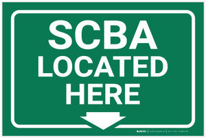 SCBA Located Here Arrow Down - Label