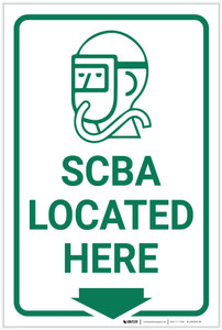 SCBA Located Here with Icon  - Label