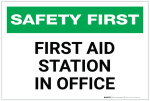 Safety First: First Aid Station in Office - Label