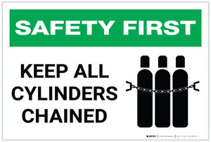 Safety First: Keep All Cylinders Chained - Label