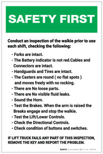 Safety First: Lift Truck Inspection Check List - Label