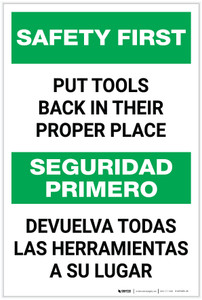 Safety First: Put Tools Back in Their Proper Place Bilingual - Label