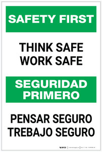 Safety First: Think Safe Work Safe Bilingual - Label