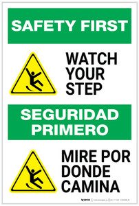 Safety First: Watch Your Step Bilingual - Label