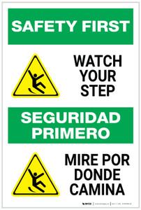 Safety First: Watch Your Step Bilingual with Icon - Label