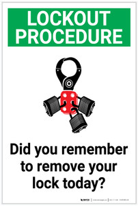 Safety First: Did You Remember To Remove Your Lock Today - Label