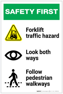 Safety First: Forklift Traffic Look Both Ways Pedestrian Walkways - Label
