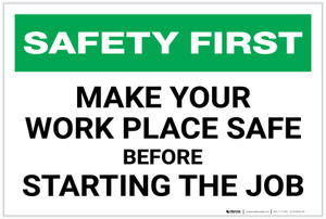 Safety First: Make You Work Place Safe Before Starting Job - Label