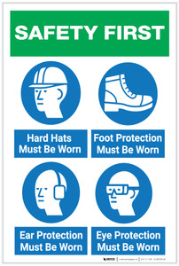 Safety First: Hard Hats/Foot Protection/Ear Protection/Eye Protection Icons - Label