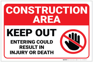 Construction Area Keep Out with Icon Landscape - Label