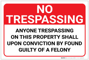 No Trespassing: Anyone Trespassing: Guilty Of A Felony Landscape - Label