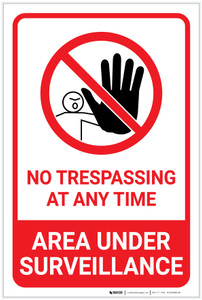 No Trespassing: Area Under Surveillance with Icon Portrait - Label