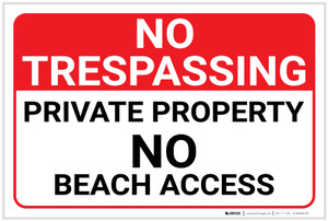 No Trespassing: Private Property - No Beach Access - Label