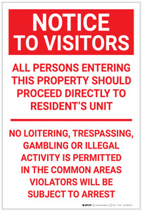Notice: To Visitors No Trespassing Portrait - Label