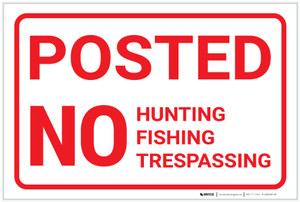 Posted: No Hunting Fishing Trespassing Red and White Landscape - Label