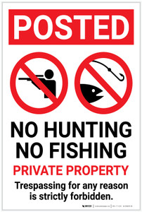 Posted: No Hunting No Fishing Private Property with Icons Portrait - Label