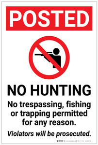 Posted: No Hunting No Trespassing Fishing Or Trapping with Icon Portrait - Label
