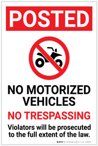 Posted: No Motorized Vehicles No Trespassing with Icon Portrait - Label