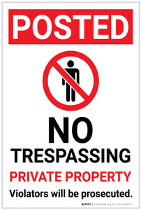Posted: No Trespassing Private Property with Icon Portrait - Label